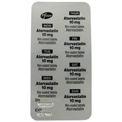 Atorvastatin 10mg gegen hohes Cholesterin Blister Packung
