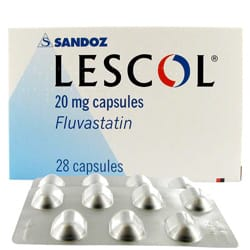 Lescol 28 mal 40mg Kapseln mit Fluvastatin Verpackung und Blisterpackung