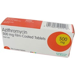 Box of Azithromycin 500mg film-coated tablets