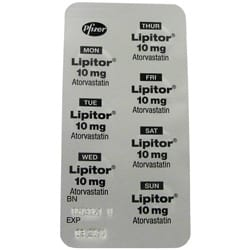 Back view of Lipitor 10mg tablet blister pack