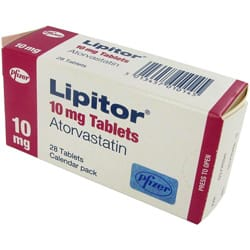 Calendar pack of 28 Lipitor 10mg atorvastatin tablets
