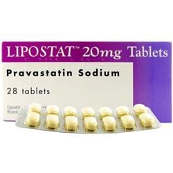 Box of Lipostat 20mg tablets with blister pack