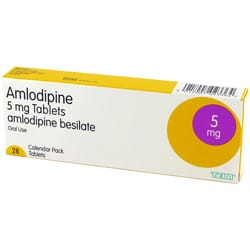 Calendar pack of Amlodipine 5mg besilate tablets
