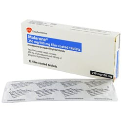 Box of Malarone (250mg atovaquone, 100mg proguanil hydrochloride) with blister strip