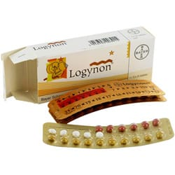 Box of Logynon pills with blister packs