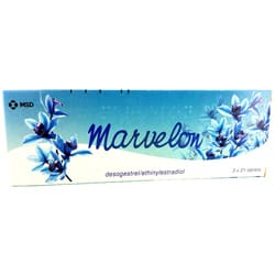 Pack of 63 Marvelon desogestrel/ethinylestradiol tablets