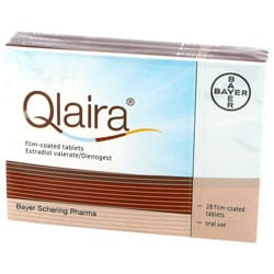 Pack of 28 film-coated Qlaira estradiol valerate/dienogest tablets