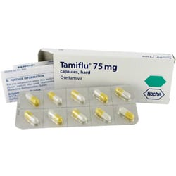 Box of Tamiflu 75mg capsules with blister pack and a patient information leaflet