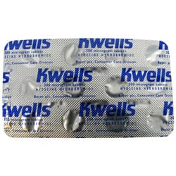 Back view of Kwells 300 microgram tablets blister pack