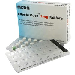 Pack of 84 Elleste Duet 1mg with blister packs (each containing 16 tablets of 1mg estradiol hemihydrate and 12 tablets of 1mg estradiol hemihydrate/1mg norethisterone acetate)