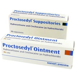 Proctosedyl ointment and suppositories pack