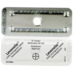 Front and rear view of Levonelle 1500 microgram tablets blister packs