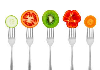 Dieta saudável com vegetais e fruta