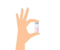 Segure o frasco do medicamento