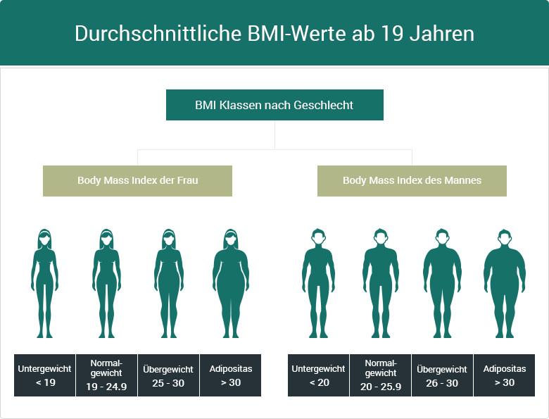 BMI Klassen Erwachsene nach Geschlecht Unterschiede Mann Frau Übergewicht Adipositas Fettleibigkeit Untergewicht Magersucht